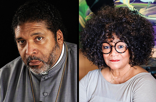 Photo of Rev. Dr. William Barber II and North Carolina poet Laureate, Jaki Shelton Green