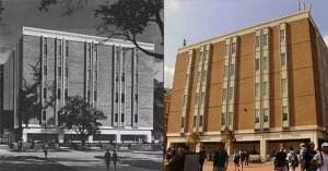 A black and white photograph of Greenlaw Hall shortly after its construction juxtaposed with a color photograph of Greenlaw Hall today