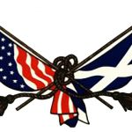 Logo of Scottish Heritage USA: an American flag knotted together with a Scottish flag