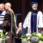 Photographs of Jill C. McCorkle and Robert D. Newman receiving their Distinguished Alumni honors