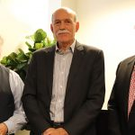 Photograph of Bland Simpson, David Zucchino, and Ross White