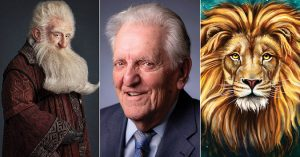 Photograph of Christopher Armitage flanked by illustrations of J. R. R. Tolkien's Bilbo and C. S. Lewis's Aslan