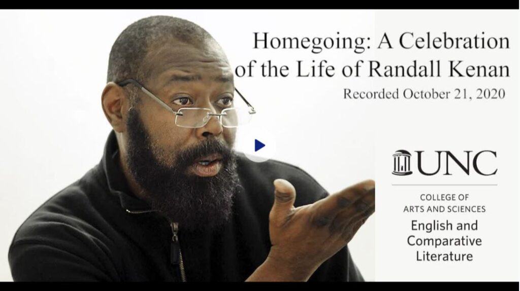 photo of professor randall kenan with link to memorial video